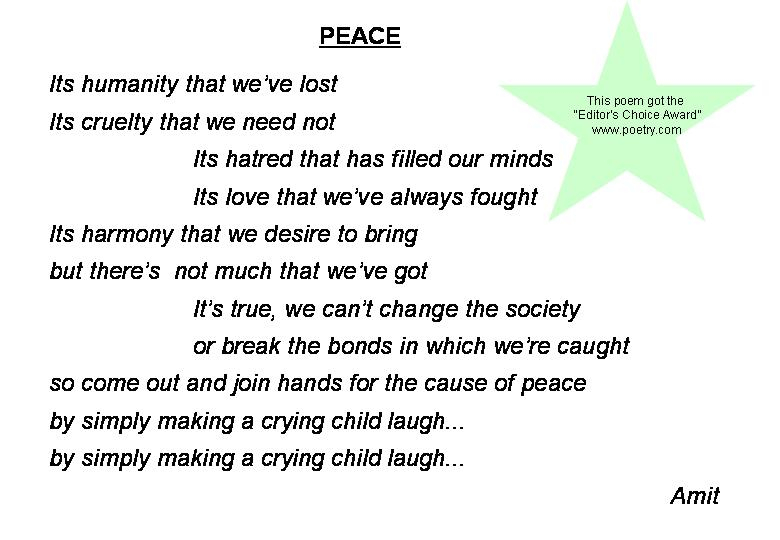 poems for peace. Peace: Poems: Amit#39;s Corner on